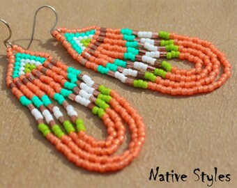 "3""Pow Wow Seed Bead Earring~Native Style Glass Bead Orange Loop~Tribal Inspired~Native American Inspired~Native Bead~Native Pow Wow Festival"