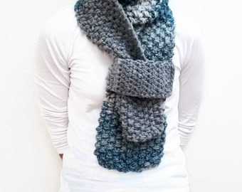 Blue Multi Scarf, Shades of Grey, Multi Color Scarf, Knit Scarf, Chunky Knit, Something Blue, Fashion Scarves, Womens Scarf, Shades Of Gray