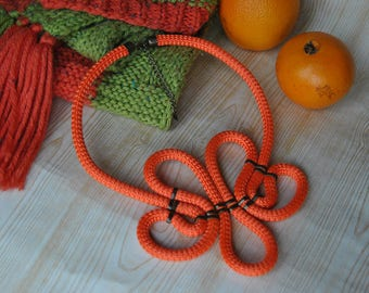 Modern Necklace, Orange Necklace, Macrame Necklace, Macrame Jewelry.