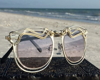 Artisan Wire Wrap Sunglasses, Silver Metal Cut Out Frames, One of a Kind, Bold Large Sunglasses, Spunglasses, Art Deco, Mod, Trend, Eyewear