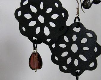 Recycled bicycle tire flower earrings, Upcycled inner tube flower earrings, Eco friendly bike tire earrings