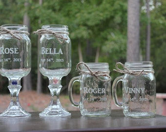 20 Mason jars, 10 Redneck Wine Glasses , 10 mason jar mugs, Wedding Party, Mason jars, 20