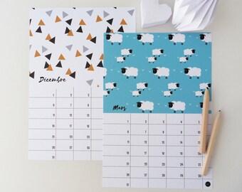 Calendar perpetual 14x20cm varied pattern