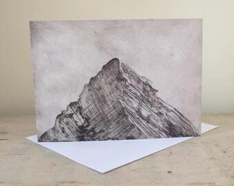 Art Greetings Card, from an original etching, Blank Card, 'Peak'