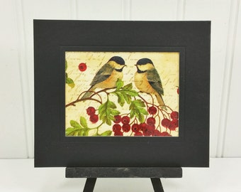Two Chickadees with Berries, Winter Woodland Bird Beeswax Collage Miniature Art