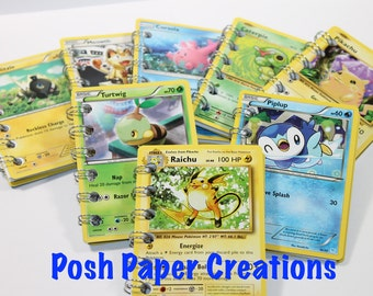 Recycled Pokemon Card mini spiral notebook with 30 pages