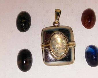 Vintage magnetic interchangeable jelly  cabs pendant with 5 magnetic jelly cabs