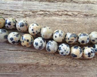 "Dalmation Stone 8mm Beads - 15"" Strand"