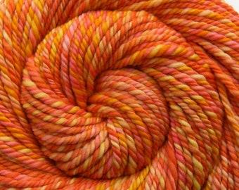 Handspun Yarn - ATOMIC TANGERINE - Hand dyed Superfine 18.8μ Merino wool, Super Bulky weight, 86 yds, orange yarn, hand spun yarn, weft yarn