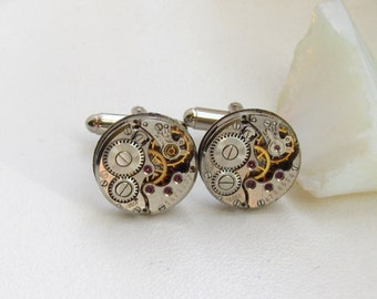 Steampunk Watch Movement Cufflinks Wedding Groom Mens gift ideas Cuff links Best Man Gift for Him Birthday gift Silver cufflinks