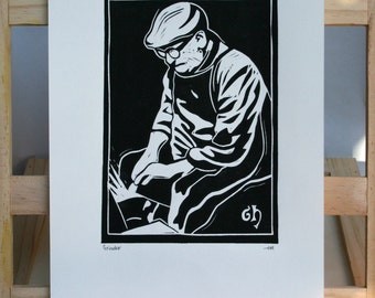 Sheffield Grinder, Steel Worker Hand Printed Linocut Print, Hand Made, Sheffield, Industry, Steel, History, Lino Print