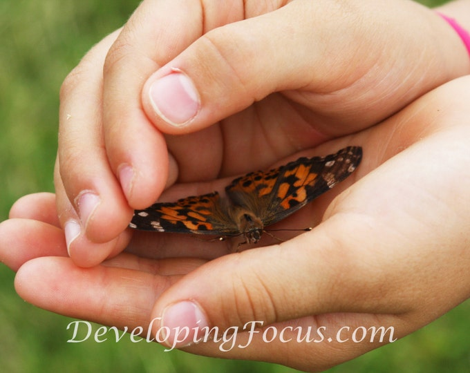 Child's Hands Holding Little Orange Butterfly, Child Photography, Nature Photography, Butterfly Photography, Instant Download Card or Print