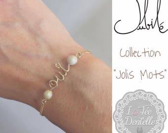 bracelet personnalisé mot fil gold filled plaque or, mariage, accessoire mariage