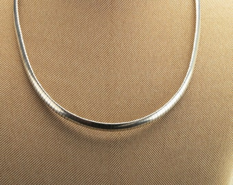 6mm Sterling Silver  Omega  Necklace 17""