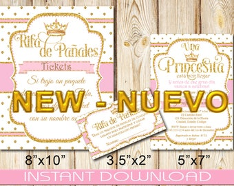 Spanish Royal Princess Bundle, Invitation, Diaper Raffle Tickets,Sign, Baby Shower, Girl, Pink and Gold , DIY, Instant Download, Printable