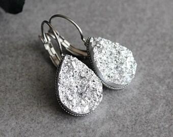 Silver Drop Earrings, Silver Teardrop Earrings, Silver Druzy Earrings, Silver Earrings, Silver Dangle Earrings, Faux Druzy Earrings