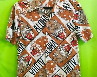 1960s Ui-Maikai Hawaiian Aloha Fez Shirt M