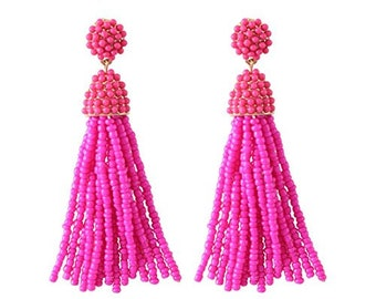 Choose color - Beaded Tassel Earrings, Bohemian Earrings, Spring, Beaded, Summer Earrings, Dangle & Drop Earrings