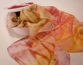 Sunset shibori, Hand Painted Silk Scarf