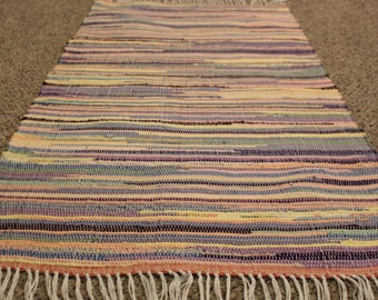 """Bright Pastels Handcrafted rag rug 25"""" x 51"""""""