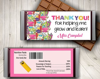 Teacher Thank You, Teacher Present, Candy Bar Wrapper, Best Teacher, Preschool Teacher, Cute Teacher Gift, Teacher Gift Idea, Kindergarten
