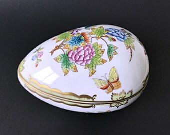 Large Herend Porcelain Egg Box Easter Egg Candy Dish Easter Decor