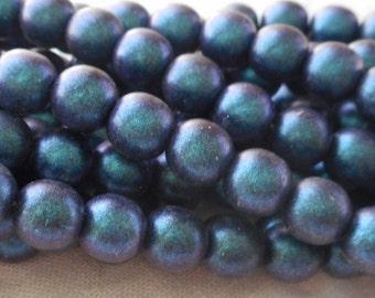 50 6mm Czech glass beads, Polychrome Indigo Orchid, Matte Navy Blue smooth round druk beads C31150