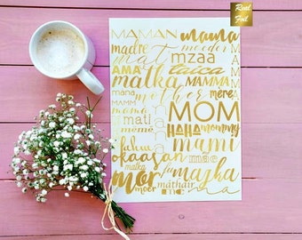 MOTHER'S DAY CUSTOMIZABLE-gold foil languages print