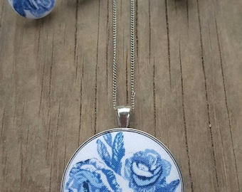 Blue floral fabric jewelry set