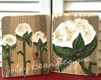 Cotton Art on Wood