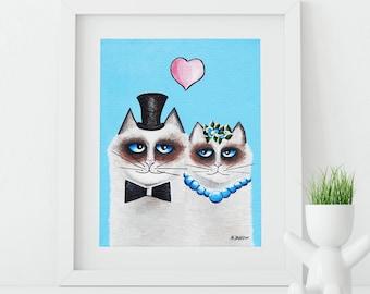 Ragdoll Cat Print, Couple Portrait, Cat Art Gift for Couple, Cat Wedding Art, Cats Portrait, Cat Lover Gift, Funny Cat Home Decor