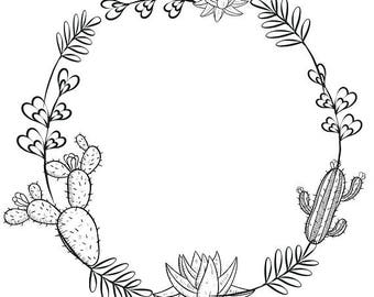 Cactus Clipart Minimalist Wreath Succulents Black White