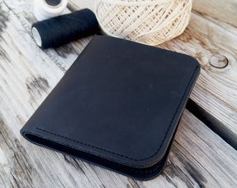 Black leather wallet, mens bifold wallet, minimaliste leather wallet, small mens wallet, leather card holder, slim wallet, gift for him