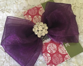 Eggplant Purple Organza Hair Bow with Rhinestone Center, Sparkle Flower Girl Hair Bow, Baby Hair Bow, Purple Hair Bow, Pageant Hair bow