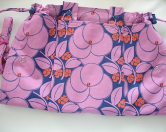 KNITTING BAG APRON - Amy Butler Hapi Collection Heartbloom in Pink - Ready To Ship