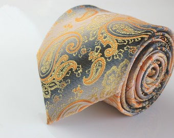 Gold Paisley Ties.Mens Silk Ties.Wedding Ties.Business Neckties.Wedding Ties.Gift For Him.