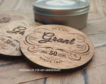 50th Anniversary Gift Coasters, 50 Year Anniversary Gift, Personalized Wood Coasters, Ready to Gift