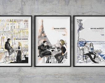 Richard Linklater Poster Set of 3 Before Movies - Illustration Artwork