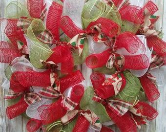 Christmas plaid and poinsettia wreath