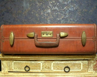 Vintage Samsonite Streamlite Leather Suitcase, Antique Luggage