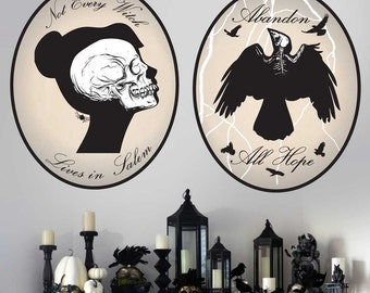 Skeleton Cameo Wall Decal Kit- Halloween Wall Decal by Chromantics
