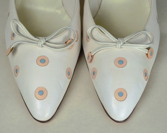 POLKA DOT Pumps_New/Old Store Stock_Deadstock_Pink & Powder Blue Dots_Marked 6 1/2B_Spike Heel Shoes_PALTER DeLISO_True 1950s/1960s Vintage