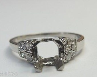Antique Diamond Platinum Engagement Ring Setting | Will Hold 6MM-6.5MM ES-172