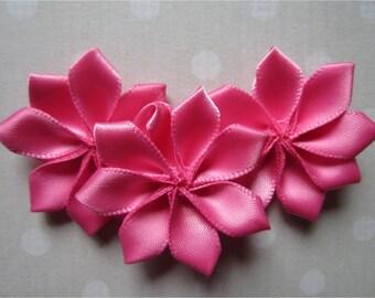 Pink Ribbon Satin Petal Flowers, Pink Ribbon Roses, Fabric Flowers, Scrapbooking Flowers, DIY Flower Girl Hair Flowers 1.5 Inches