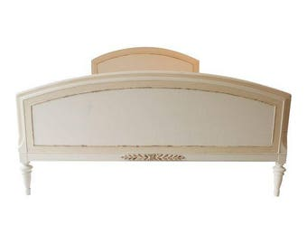 SALE!  Cottage Style Full Size Bed Frame Painted in  Antique/Beige White, French Style, Shabby Chic,French Chic!