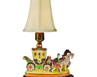 Vintage Hand Painted Japanese Moriage Horse and Carriage Accent Lamp