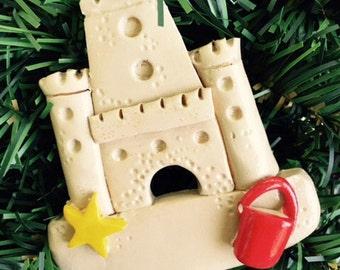 Personalized Sandcastle Christmas Ornament/Beach Ornament/Florida Ornament/Vacation/ Tropical