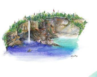 Secret Cove Print / Giclee Print / Watercolour Print / Fine art print / Original Art / Fairytale Art / childrens present