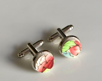 Broken China Silver Plated Cuff Links - Red Green Blue Floral