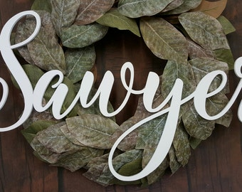 Word Wall Hanging - Wooden Word - Family Name Wall Hanging - Painted Script Name
